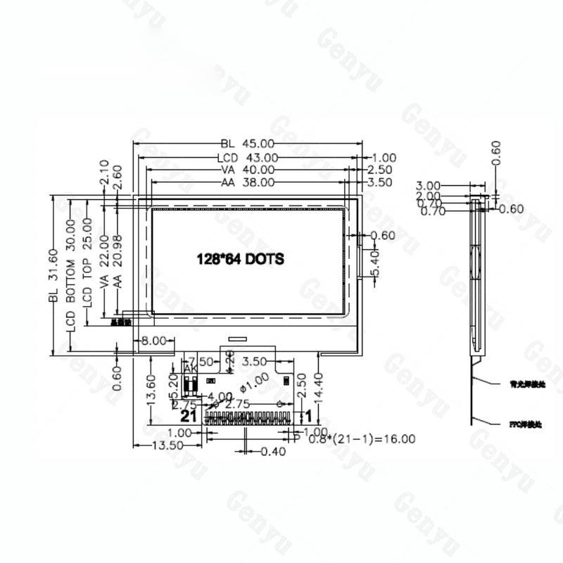 custom lcd module 128x64 Monochrome lcd Display Module