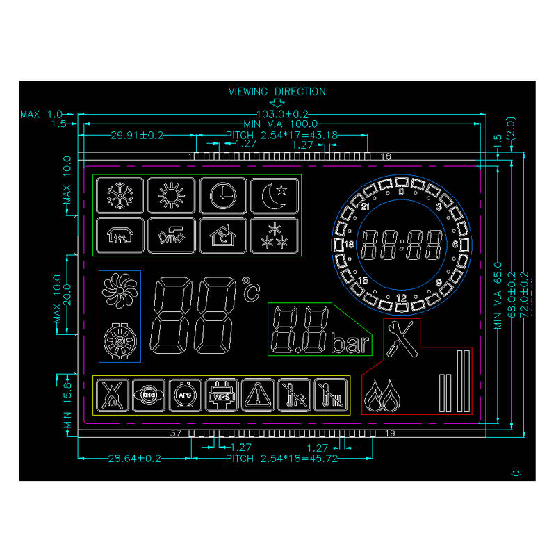 Custom LCD Display Segment GY03836NM
