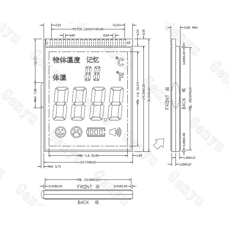 Monochrome LCD Custom 7 Segment LCD Display For Body temperature display